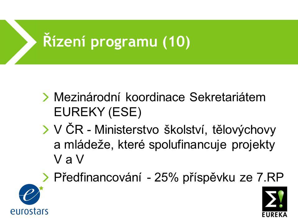 Řízení programu (10) Mezinárodní koordinace Sekretariátem EUREKY (ESE) V ČR - Ministerstvo školství, tělovýchovy a mládeže, které spolufinancuje projekty V a V Předfinancování - 25% příspěvku ze 7.RP