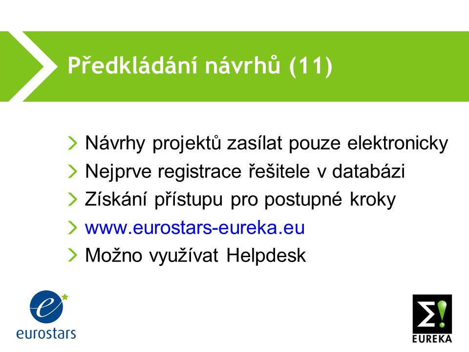 Předkládání návrhů (11) Návrhy projektů zasílat pouze elektronicky Nejprve registrace řešitele v databázi Získání přístupu pro postupné kroky www.eurostars-eureka.eu Možno využívat Helpdesk