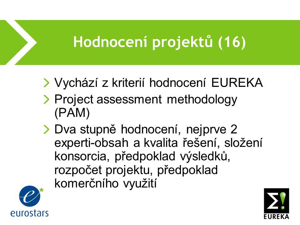 Hodnocení projektů (16) Vychází z kriterií hodnocení EUREKA Project assessment methodology (PAM) Dva stupně hodnocení, nejprve 2 experti-obsah a kvalita řešení, složení konsorcia, předpoklad výsledků, rozpočet projektu, předpoklad komerčního využití
