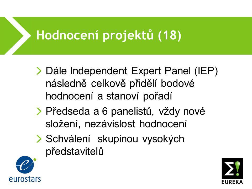 Hodnocení projektů (18) Dále Independent Expert Panel (IEP) následně celkově přidělí bodové hodnocení a stanoví pořadí Předseda a 6 panelistů, vždy nové složení, nezávislost hodnocení Schválení skupinou vysokých představitelů