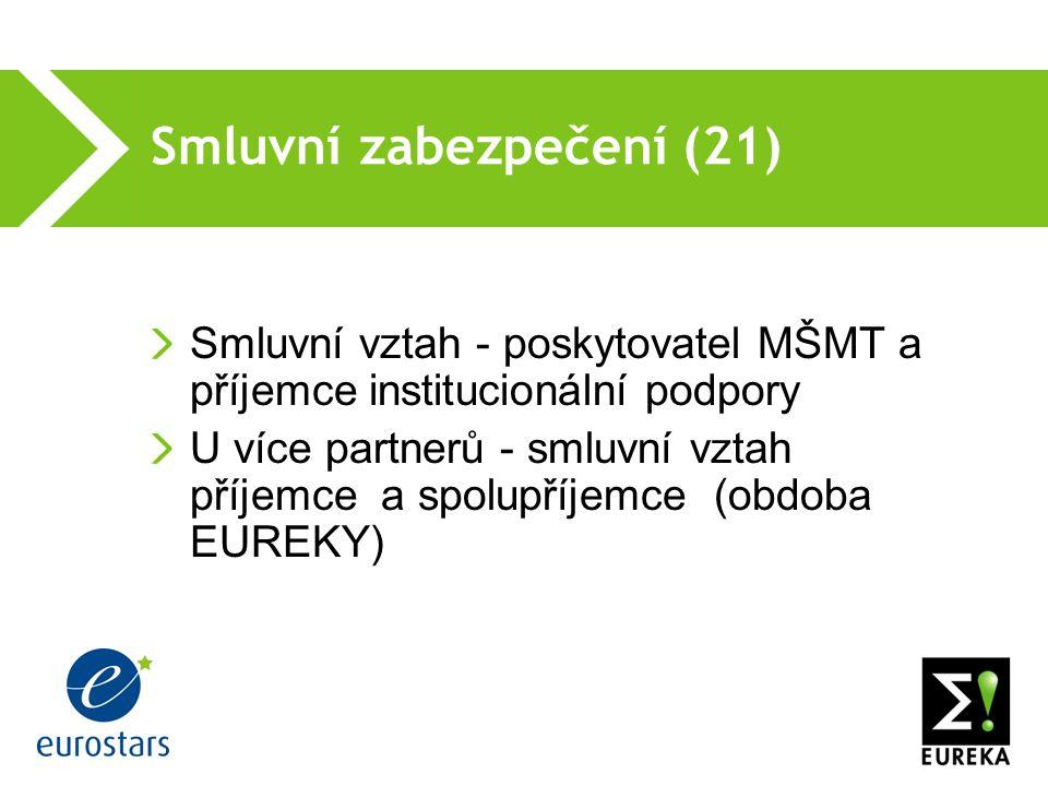 Smluvní zabezpečení (21) Smluvní vztah - poskytovatel MŠMT a příjemce institucionální podpory U více partnerů - smluvní vztah příjemce a spolupříjemce (obdoba EUREKY)