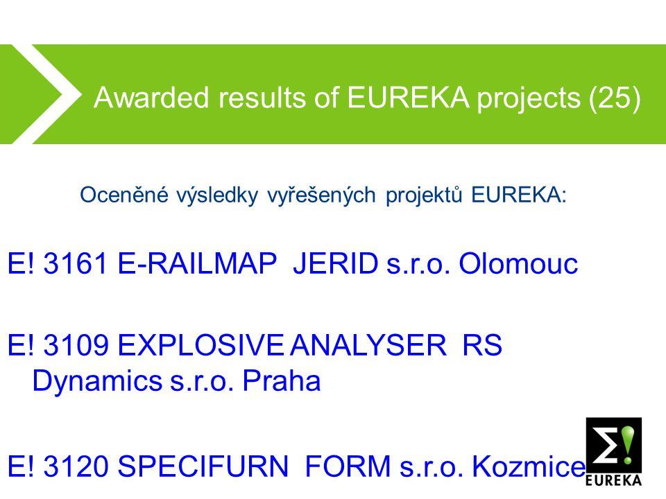 Awarded results of EUREKA projects (25) Oceněné výsledky vyřešených projektů EUREKA: E.