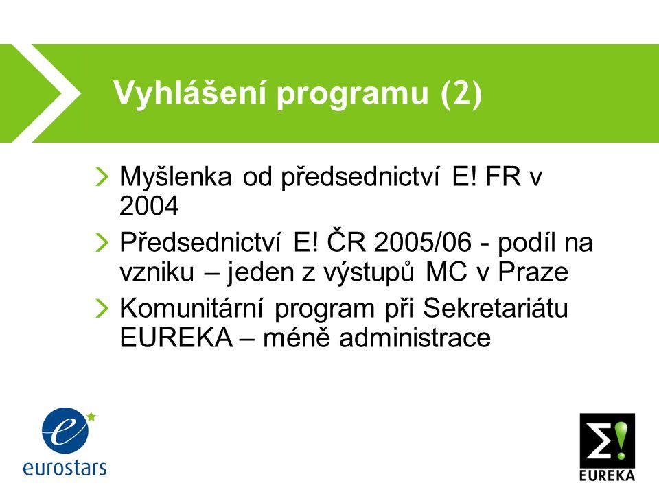 Vyhlášení programu (2) Myšlenka od předsednictví E.