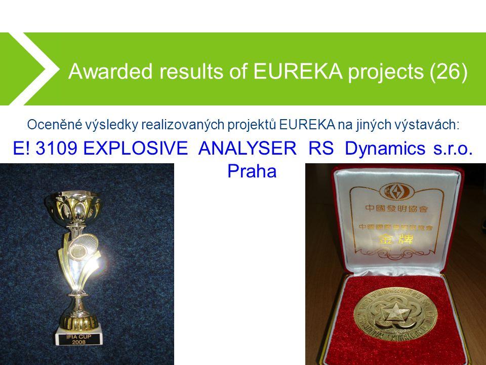 Awarded results of EUREKA projects (26) Oceněné výsledky realizovaných projektů EUREKA na jiných výstavách: E.