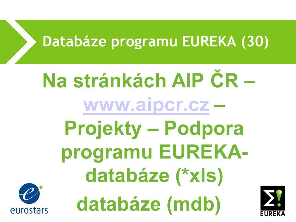 Databáze programu EUREKA (30) Na stránkách AIP ČR – www.aipcr.cz – Projekty – Podpora programu EUREKA- databáze (*xls) www.aipcr.cz databáze (mdb)