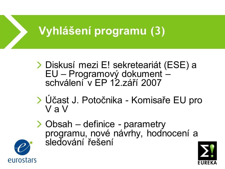 Vyhlášení programu (3) Diskusí mezi E.