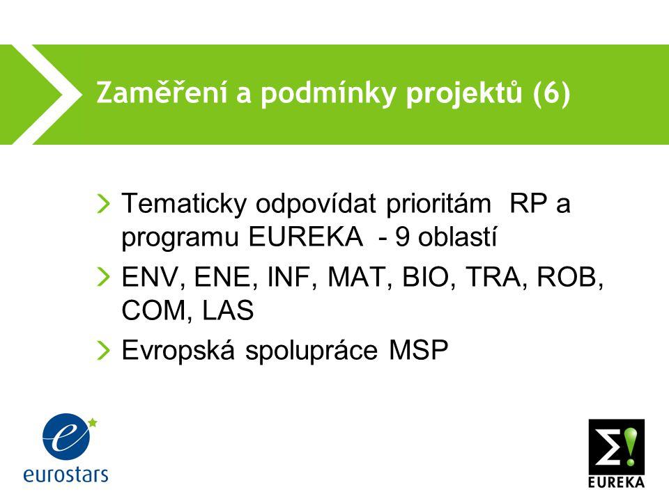 Zaměření a podmínky projektů (6) Tematicky odpovídat prioritám RP a programu EUREKA - 9 oblastí ENV, ENE, INF, MAT, BIO, TRA, ROB, COM, LAS Evropská spolupráce MSP