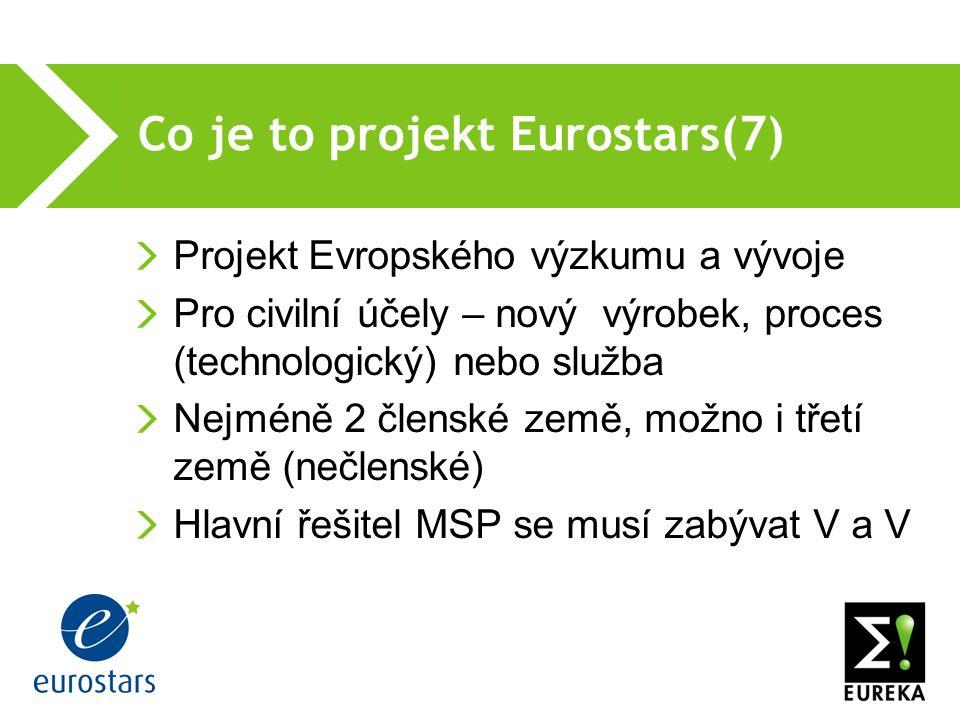 Co je to projekt Eurostars(7) Projekt Evropského výzkumu a vývoje Pro civilní účely – nový výrobek, proces (technologický) nebo služba Nejméně 2 členské země, možno i třetí země (nečlenské) Hlavní řešitel MSP se musí zabývat V a V