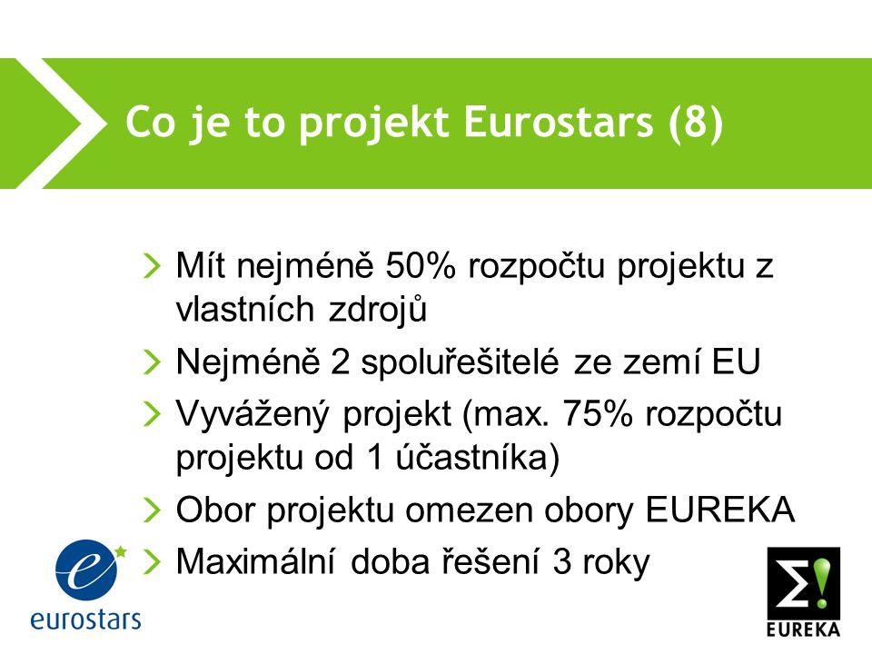 Co je to projekt Eurostars (8) Mít nejméně 50% rozpočtu projektu z vlastních zdrojů Nejméně 2 spoluřešitelé ze zemí EU Vyvážený projekt (max.