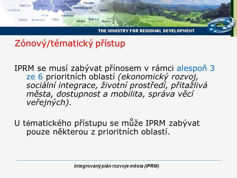 Integrovaný plán rozvoje města (IPRM) Zónový/tématický přístup IPRM se musí zabývat přínosem v rámci alespoň 3 ze 6 prioritních oblastí (ekonomický ro