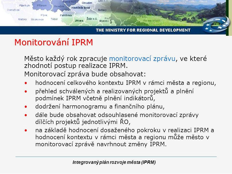 Integrovaný plán rozvoje města (IPRM) Monitorování IPRM Město každý rok zpracuje monitorovací zprávu, ve které zhodnotí postup realizace IPRM. Monitor