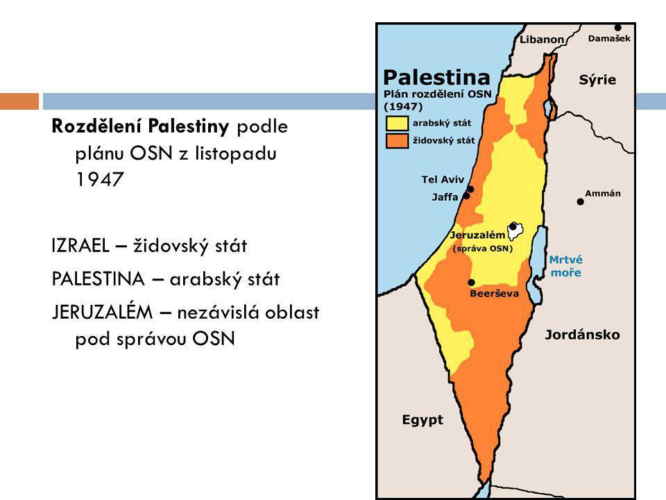 Rozdělení Palestiny podle plánu OSN z listopadu 1947 IZRAEL – židovský stát PALESTINA – arabský stát JERUZALÉM – nezávislá oblast pod správou OSN