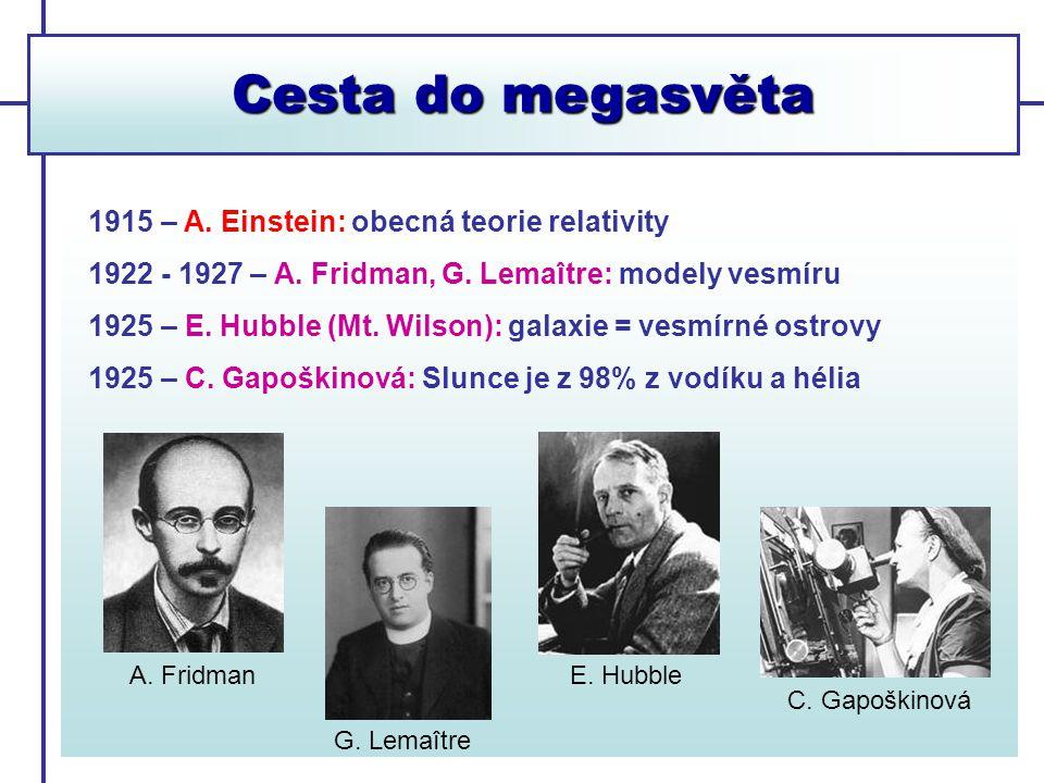 Cesta do megasvěta 1915 – A. Einstein: obecná teorie relativity 1922 - 1927 – A. Fridman, G. Lemaître: modely vesmíru 1925 – E. Hubble (Mt. Wilson): g