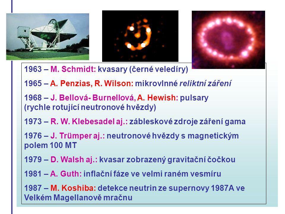 1963 – M. Schmidt: kvasary (černé veledíry) 1965 – A. Penzias, R. Wilson: mikrovlnné reliktní záření 1968 – J. Bellová- Burnellová, A. Hewish: pulsary