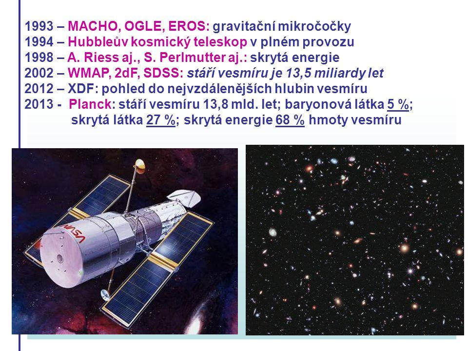1993 – MACHO, OGLE, EROS: gravitační mikročočky 1994 – Hubbleův kosmický teleskop v plném provozu 1998 – A. Riess aj., S. Perlmutter aj.: skrytá energ