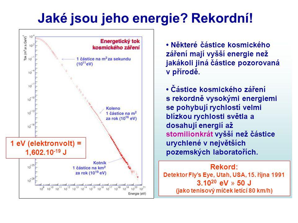 Jaké jsou jeho energie? Rekordní! Některé částice kosmického záření mají vyšší energie než jakákoli jiná částice pozorovaná v přírodě. Částice kosmick