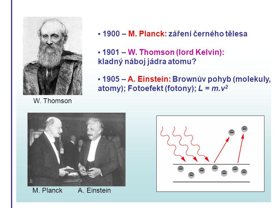 1900 – M. Planck: záření černého tělesa 1901 – W. Thomson (lord Kelvin): kladný náboj jádra atomu? 1905 – A. Einstein: Brownův pohyb (molekuly, atomy)
