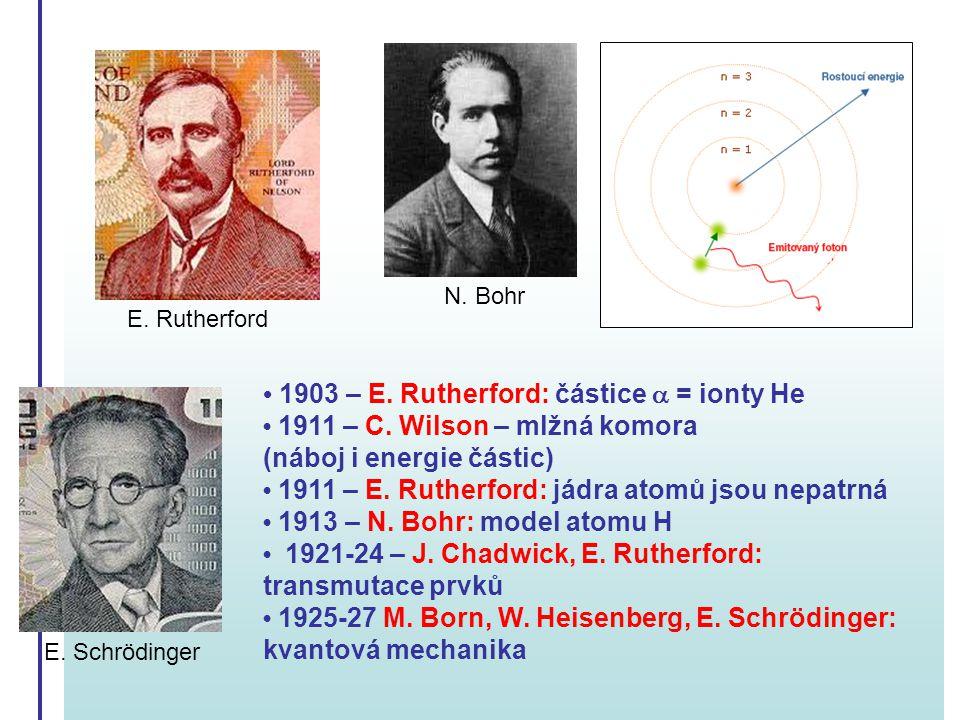 1903 – E. Rutherford: částice  = ionty He 1911 – C. Wilson – mlžná komora (náboj i energie částic) 1911 – E. Rutherford: jádra atomů jsou nepatrná 19