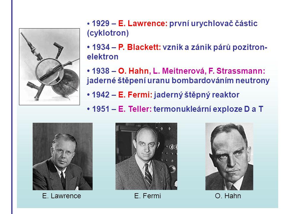 1929 – E. Lawrence: první urychlovač částic (cyklotron) 1934 – P. Blackett: vznik a zánik párů pozitron- elektron 1938 – O. Hahn, L. Meitnerová, F. St