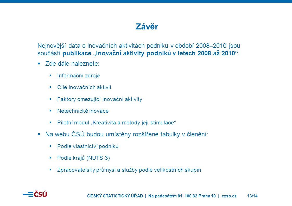 ČESKÝ STATISTICKÝ ÚŘAD | Na padesátém 81, 100 82 Praha 10 | czso.cz13/14 Nejnovější data o inovačních aktivitách podniků v období 2008–2010 jsou součá