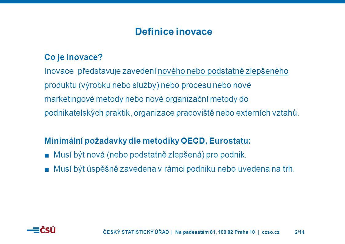 ČESKÝ STATISTICKÝ ÚŘAD | Na padesátém 81, 100 82 Praha 10 | czso.cz2/14 Co je inovace? Inovace představuje zavedení nového nebo podstatně zlepšeného p