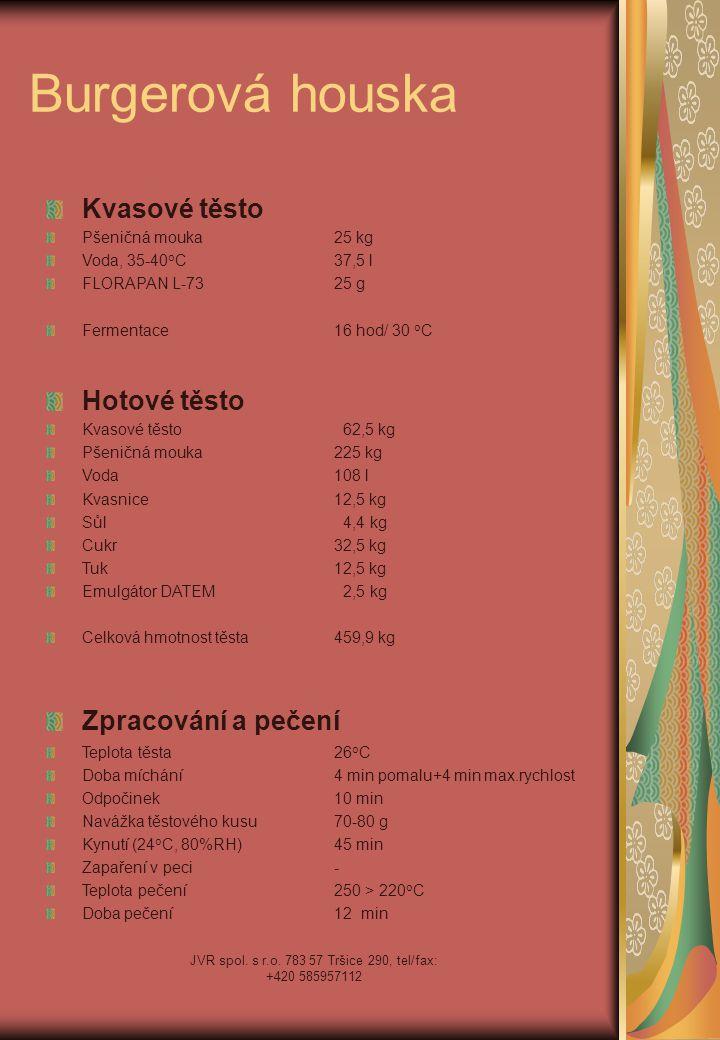 JVR spol. s r.o. 783 57 Tršice 290, tel/fax: +420 585957112 Burgerová houska Kvasové těsto Pšeničná mouka25 kg Voda, 35-40 o C37,5 l FLORAPAN L-7325 g