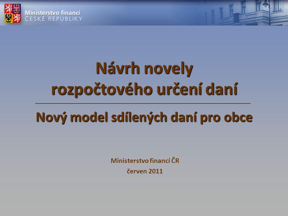 Návrh novely rozpočtového určení daní Nový model sdílených daní pro obce Ministerstvo financí ČR červen 2011