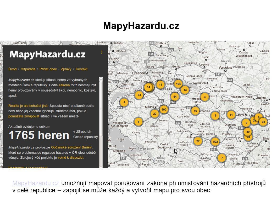 MapyHazardu.cz umožňují mapovat porušování zákona při umisťování hazardních přístrojů v celé republice – zapojit se může každý a vytvořit mapu pro svou obec