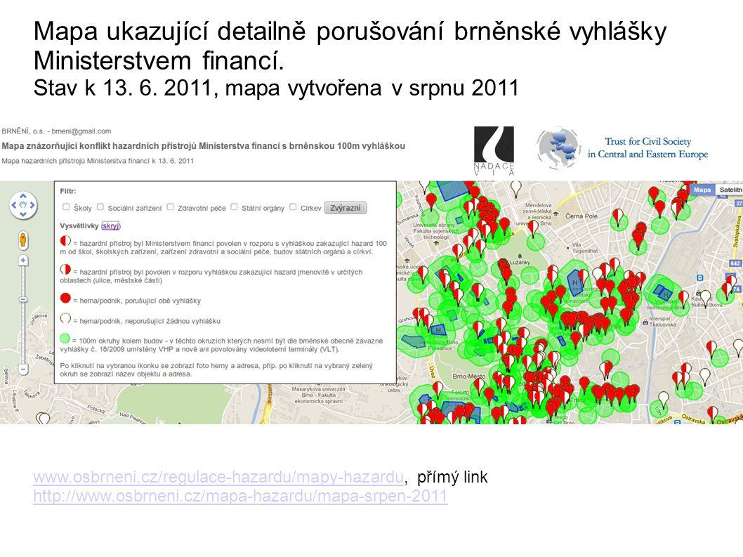 Mapa ukazující detailně porušování brněnské vyhlášky Ministerstvem financí.