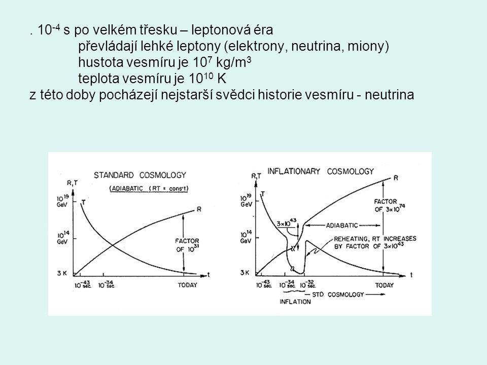 . 10 -4 s po velkém třesku – leptonová éra převládají lehké leptony (elektrony, neutrina, miony) hustota vesmíru je 10 7 kg/m 3 teplota vesmíru je 10
