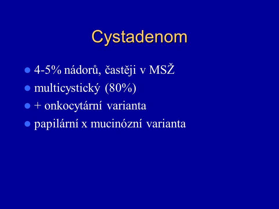 Cystadenom 4-5% nádorů, častěji v MSŽ multicystický (80%) + onkocytární varianta papilární x mucinózní varianta