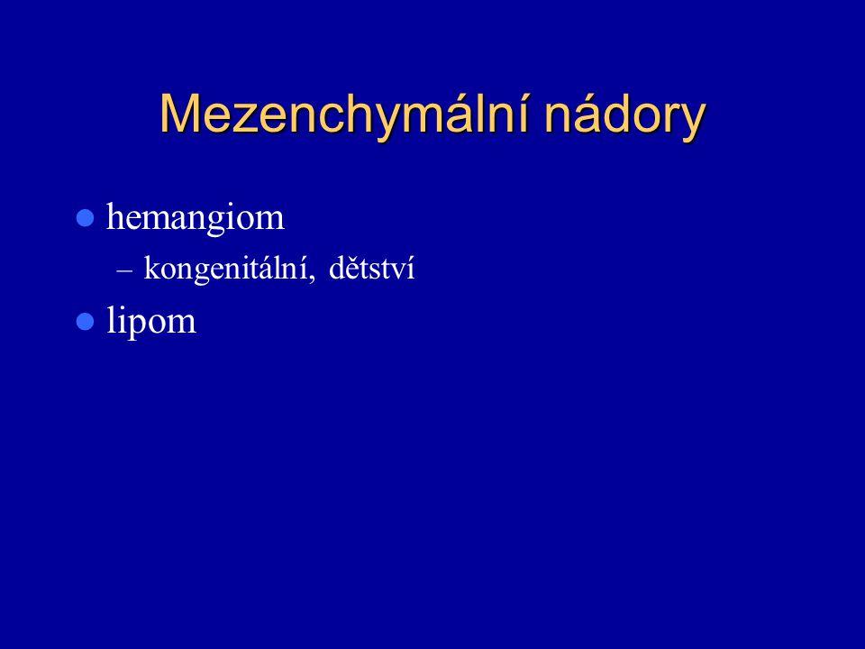 Mezenchymální nádory hemangiom – kongenitální, dětství lipom
