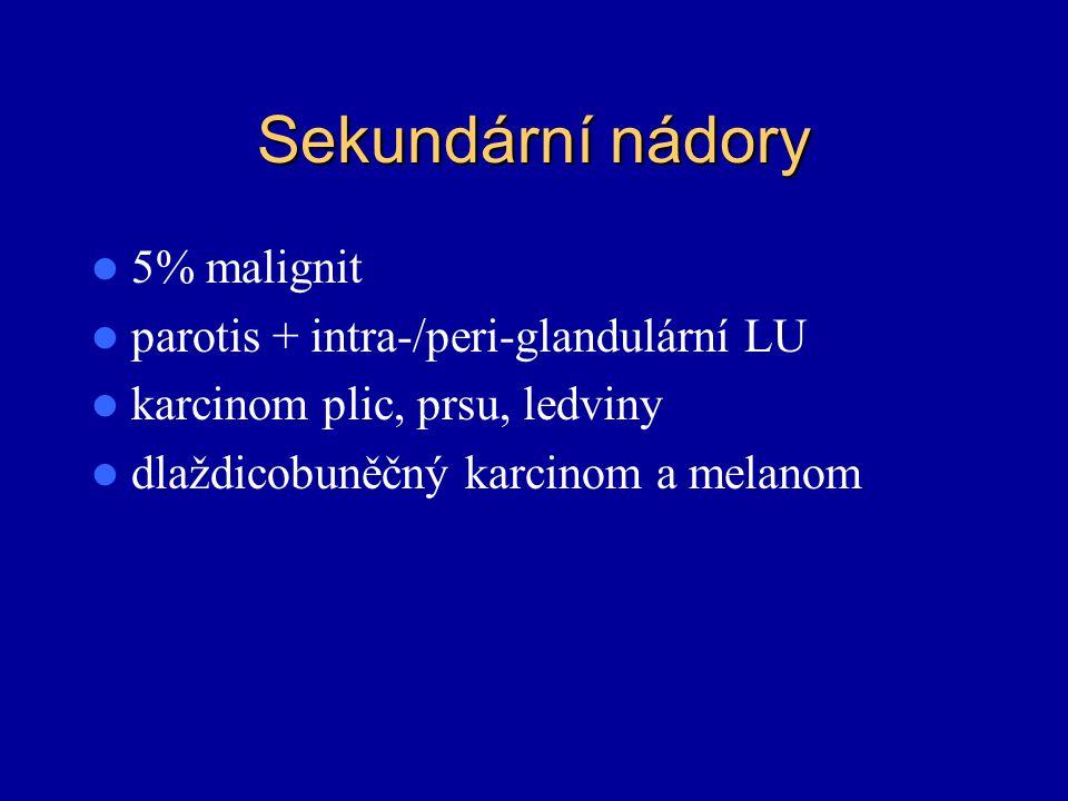 Sekundární nádory 5% malignit parotis + intra-/peri-glandulární LU karcinom plic, prsu, ledviny dlaždicobuněčný karcinom a melanom