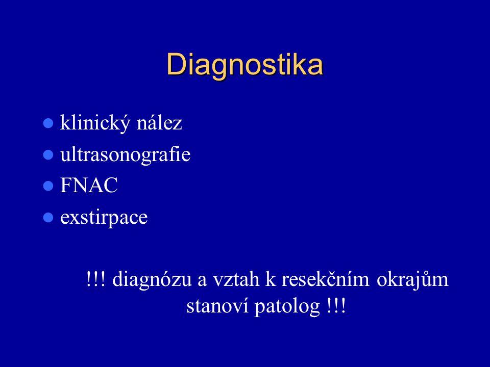 Diagnostika klinický nález ultrasonografie FNAC exstirpace !!! diagnózu a vztah k resekčním okrajům stanoví patolog !!!
