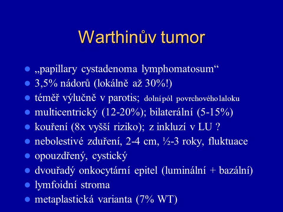 """Warthinův tumor """"papillary cystadenoma lymphomatosum"""" 3,5% nádorů (lokálně až 30%!) téměř výlučně v parotis; dolní pól povrchového laloku multicentric"""