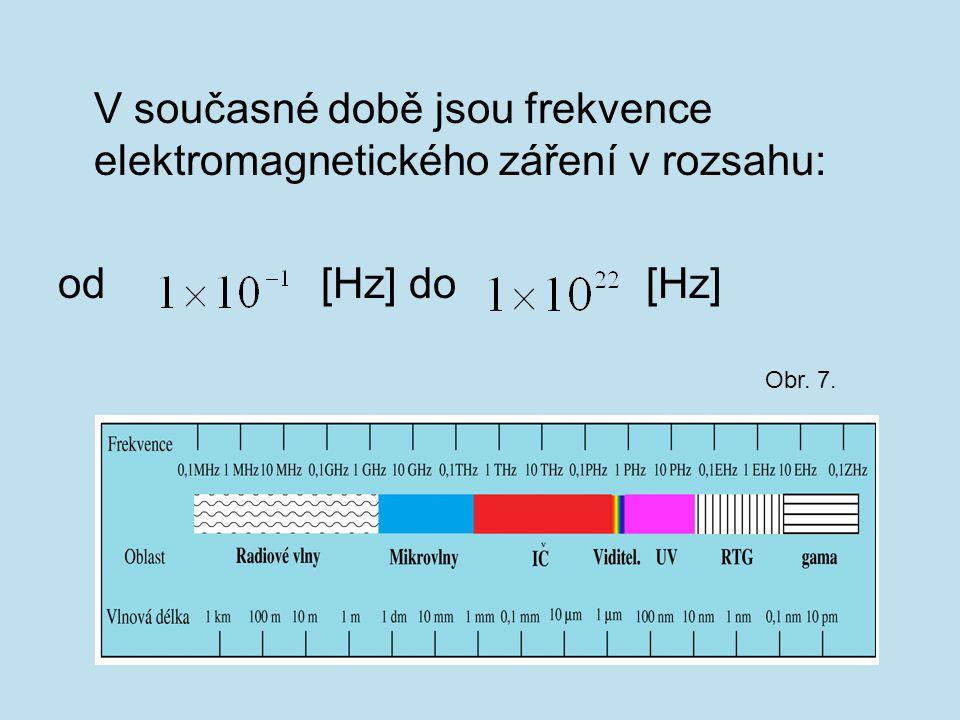 V současné době jsou frekvence elektromagnetického záření v rozsahu: od [Hz] do [Hz] Obr. 7.