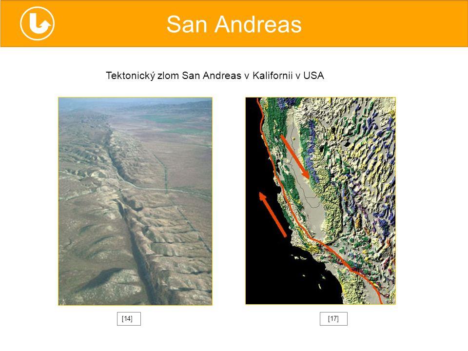 San Andreas [17][14] Tektonický zlom San Andreas v Kalifornii v USA