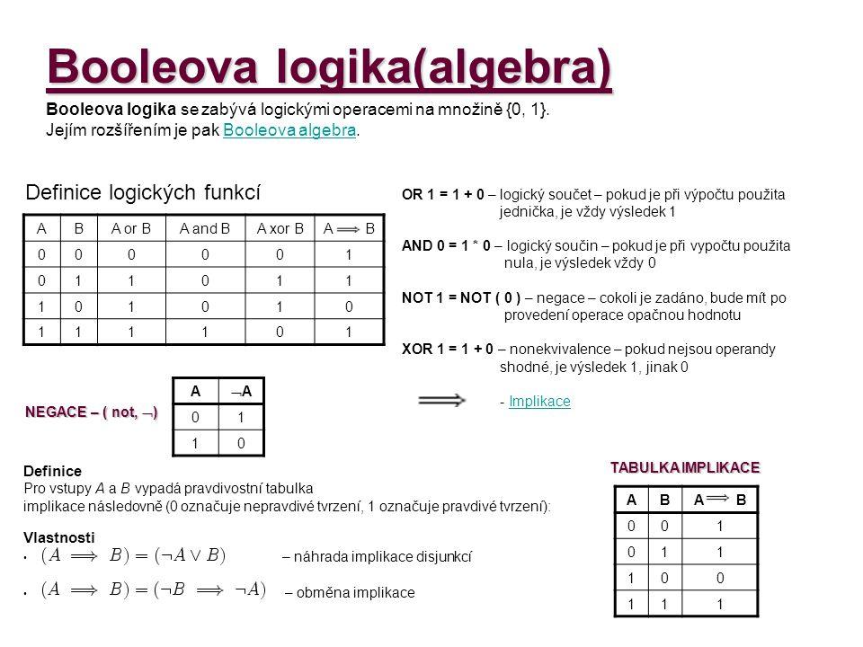 Booleova logika(algebra) Funkce : Je třeba funkci postupně rozdělit na elementy (části).A AAAA 0 1 0 1 1 0 1 0AB B and A 00 0 01 0 10 0 11 1 AAAA  A or (B and A) 101 101 000 011 P Ř Í K L A D :