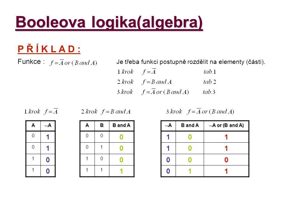 Booleova logika(algebra) Najděte řešení pro následující funkce.