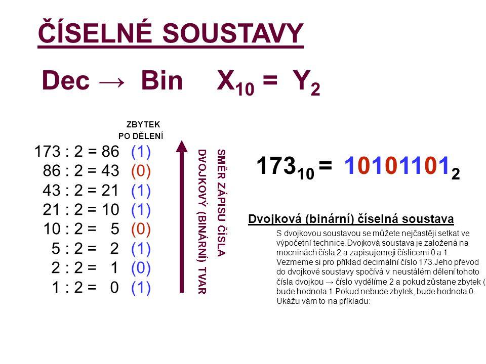 ZBYTEK PO DĚLENÍ 173 : 2 = 86(1) 86 : 2 = 43(0) 43 : 2 = 21(1) 21 : 2 = 10(1) 10 : 2 = 5(0) 5 : 2 = 2(1) 2 : 2 = 1(0) 1 : 2 = 0(1) 173 10 = 10101101 2 ČÍSELNÉ SOUSTAVYX 10 = Y 2