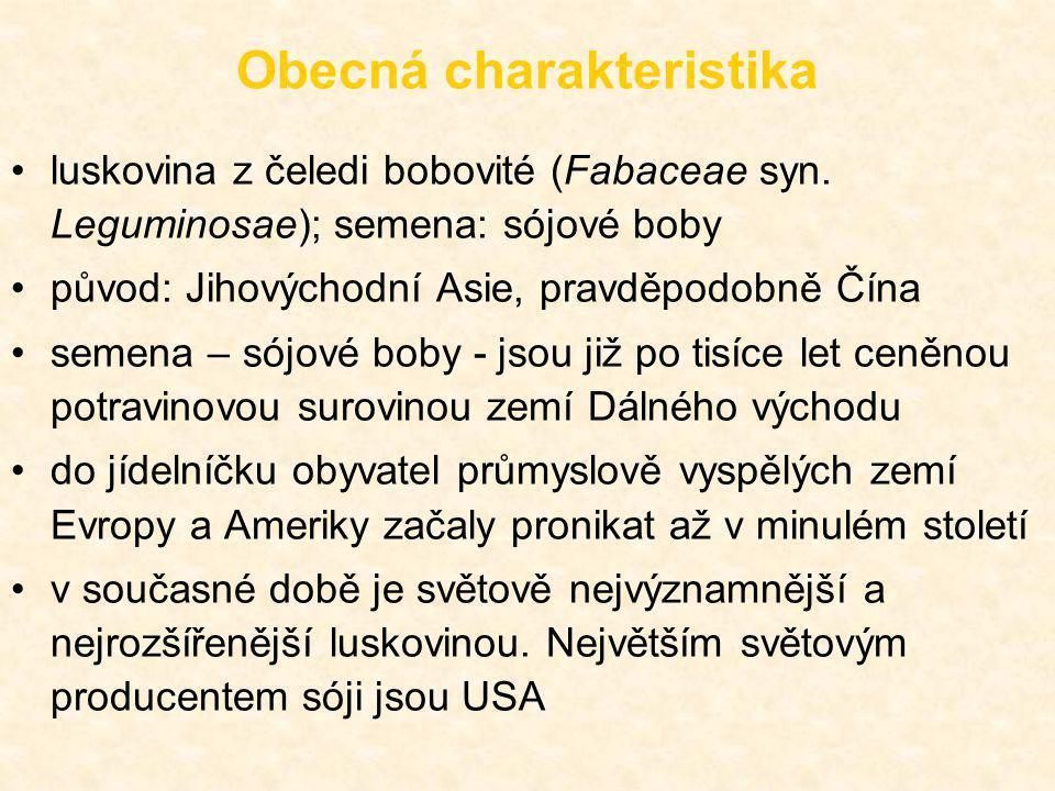 Obecná charakteristika luskovina z čeledi bobovité (Fabaceae syn. Leguminosae); semena: sójové boby původ: Jihovýchodní Asie, pravděpodobně Čína semen