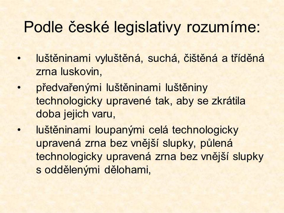Podle české legislativy rozumíme: luštěninami vyluštěná, suchá, čištěná a tříděná zrna luskovin, předvařenými luštěninami luštěniny technologicky upra