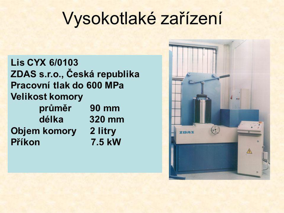 Vysokotlaké zařízení Lis CYX 6/0103 ZDAS s.r.o., Česká republika Pracovní tlak do 600 MPa Velikost komory průměr 90 mm délka 320 mm Objem komory 2 lit