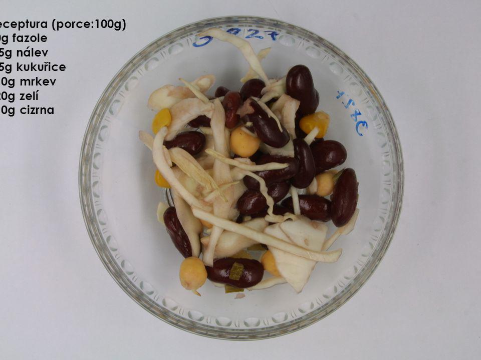 Receptura (porce:100g) 50g fazole 5g nálev 5g kukuřice 10g mrkev 20g zelí 10g cizrna