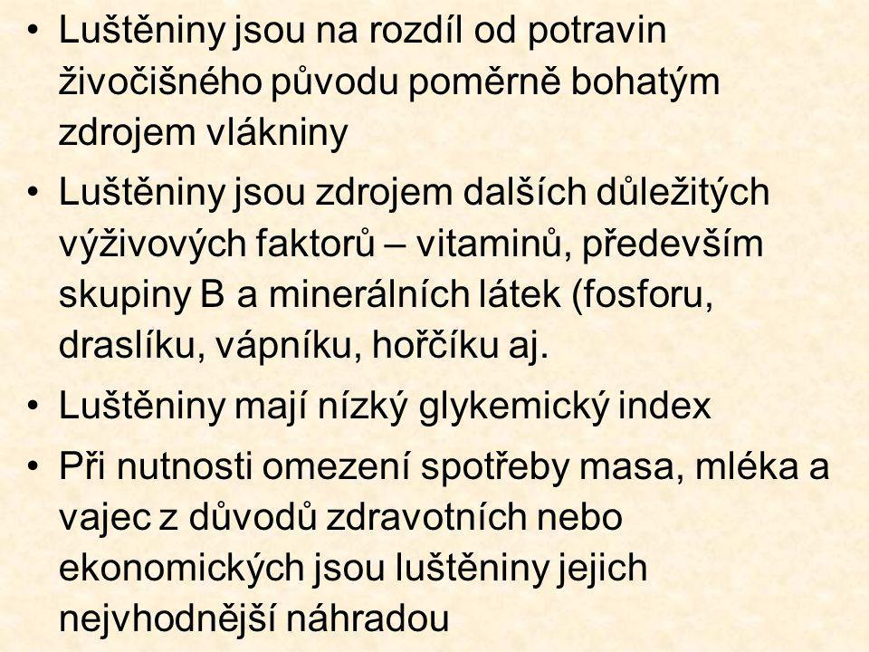 Luštěniny jsou na rozdíl od potravin živočišného původu poměrně bohatým zdrojem vlákniny Luštěniny jsou zdrojem dalších důležitých výživových faktorů