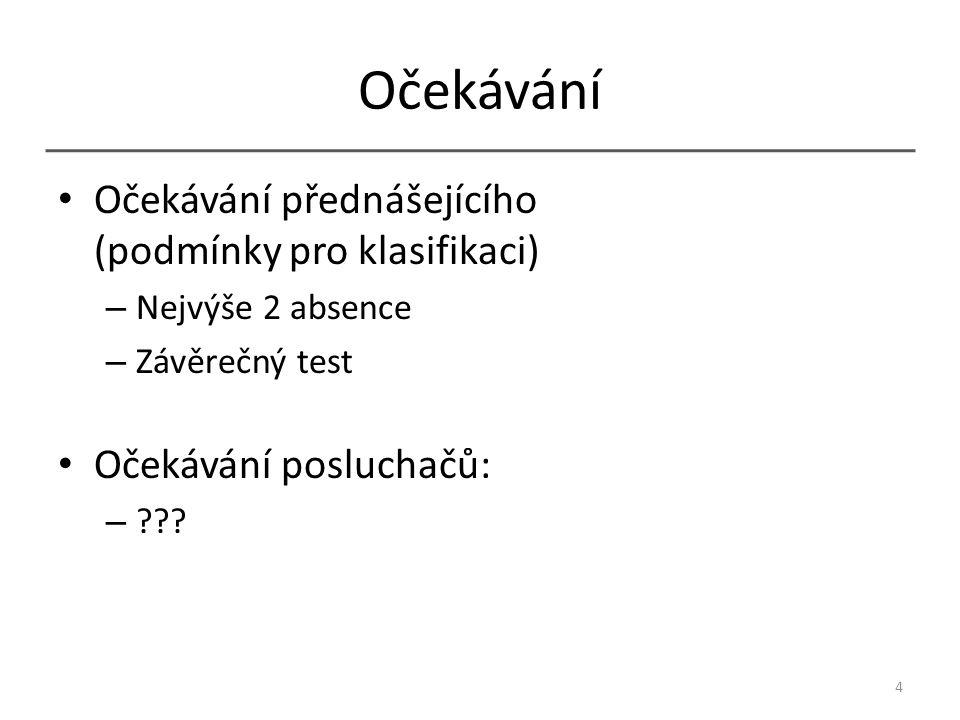 Očekávání Očekávání přednášejícího (podmínky pro klasifikaci) – Nejvýše 2 absence – Závěrečný test Očekávání posluchačů: – ??.