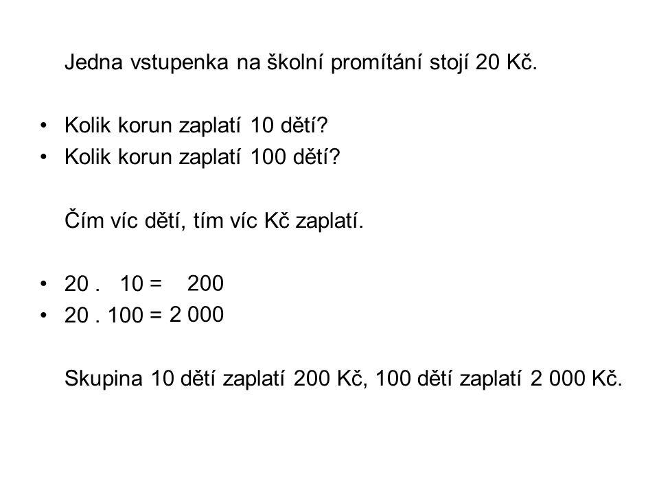 Jedna vstupenka na školní promítání stojí 20 Kč. Kolik korun zaplatí 10 dětí? Kolik korun zaplatí 100 dětí? Čím víc dětí, tím víc Kč zaplatí. 20. 10 =