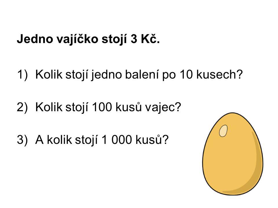 Jedno vajíčko stojí 3 Kč. 1)Kolik stojí jedno balení po 10 kusech? 2)Kolik stojí 100 kusů vajec? 3)A kolik stojí 1 000 kusů?