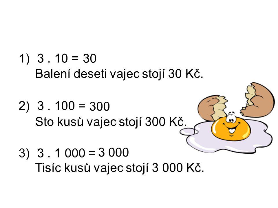 1)3. 10 = 2)3. 100 = 3)3. 1 000 = Balení deseti vajec stojí 30 Kč. Sto kusů vajec stojí 300 Kč. Tisíc kusů vajec stojí 3 000 Kč. 30 300 3 000