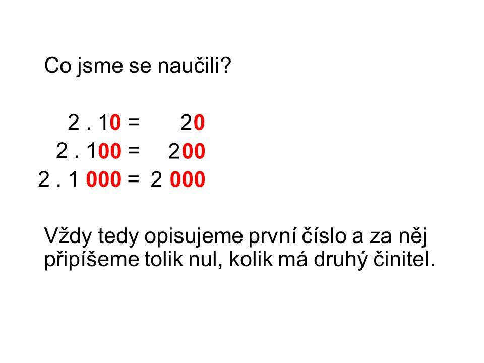 Co jsme se naučili? 2. 1 = 2. 1 = 2. 1 = Vždy tedy opisujeme první číslo a za něj připíšeme tolik nul, kolik má druhý činitel. 2 2 2 0 00 000 0 00 000